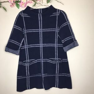 Anthropologie MOTH blue paned plaid tunic sweater
